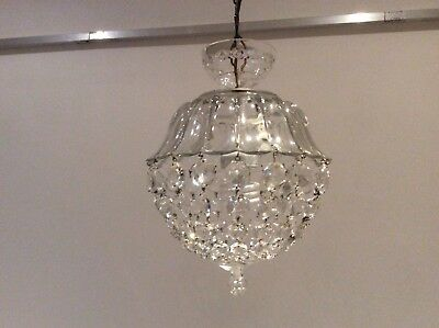 Fabulous Vintage French Cut Crystal Glass Bag Chandelier, c1940s.