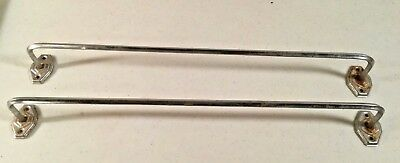 "2 Vintage Art Deco Chrome 17 1/2"" Towel Bar Holder Bathroom Kitchen Trailer 50's"