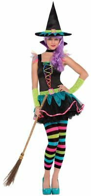 SALE! Kids Neon Witch Girls Halloween Party Fancy Dress Teen Costume Outfit