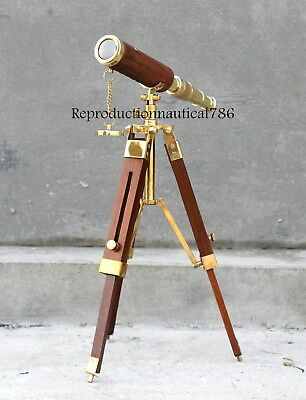 Solid Brass Leather Wrapped Spyglass Telescope With Wooden Tripod Decorative