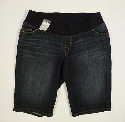 Womens NEW Liz Lange Under The Belly Stretch Denim Jean Maternity Shorts S Small