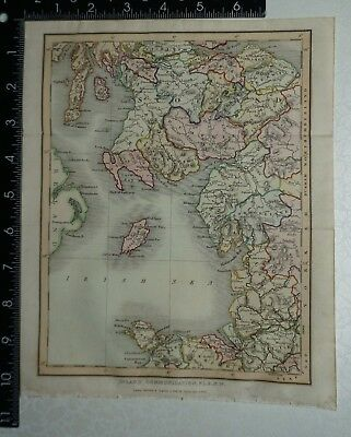 1833 Antique Original Sidney Hall Map of Scotland & North West England