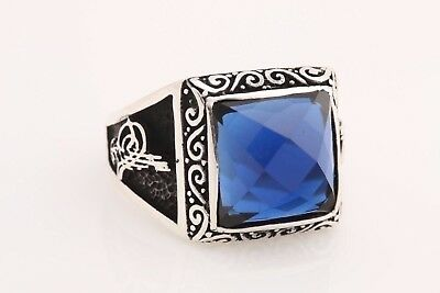 Turkish Handmade Jewelry Square Sapphire 925 Sterling Silver Men's Ring Size 11