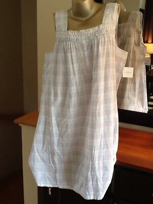 Womens Nightgown Croft & Barrow100% Woven Cotton Blue & Pink Sleeveless Small