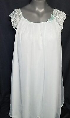 Vtg Vanity Fair Blue Gown Sz Small Negligee Sheer Chiffon Over Nylon Lace 1960's