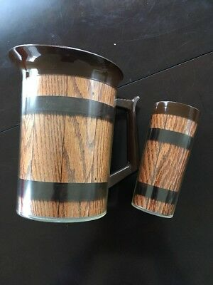 Vintage Thermo-Serv Plastic Faux Woodgrain Pitcher Cup 1970's Westbend