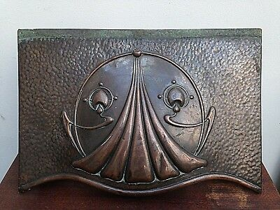 An Original Arts & Crafts Movement Brass Fire Cowl With Iron Frame- Art Nouveau