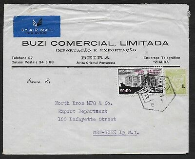 Portugal Mozambique Beira 1946 cover to New York. Good condition. Look.