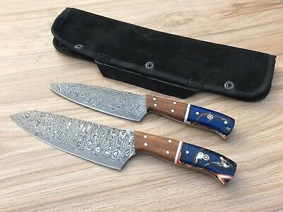 ( Lot Of 2) Hand Made Damascus Steel Blade Cheaf kitchen Knife Set