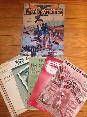"""Lot Antique Sheet Music """"Wake Up America"""" 1916 Large Format Uncle Sam & More"""