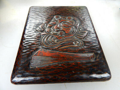"""Antique Japanese Hand Carved Tray Wooden 9.75"""" x 8"""", Wood, Face & Fan, Gold Wash"""