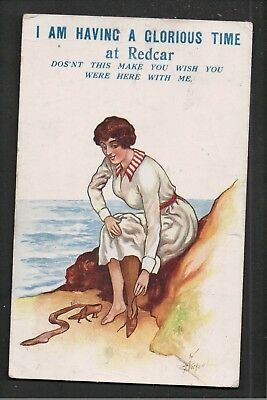 I Am Having A Glorious Time At REDCAR 1916 Postcard