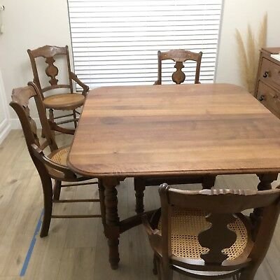 Antique Walnut Dining Set, Victorian Eastlake, Authentic Farmhouse Style