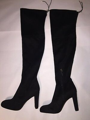 cbfbbf76cb6 SAM EDELMAN  KENT  Size 8 Over-the-Knee Black Micro Suede Boots New ...