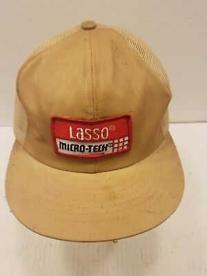 3342cae113c Vintage Mesh Snapback Patch Trucker Swingster Hat LASSO MICRO-TECH MADE IN  USA