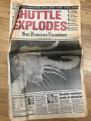 January 28 1986 Space Shuttle Challenger explodes San Francisco Examiner News
