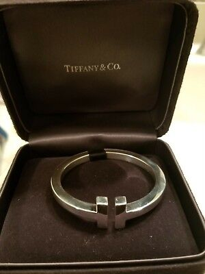 Tiffany & Co. Sterling Silver T Square Hinged Bangle Cuff Bracelet Size Small