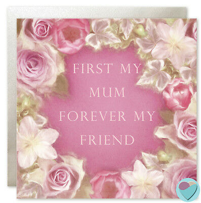 Mother's Day or Mum Birthday Card Thank You 'FIRST MY MUM FOREVER MY FRIEND'