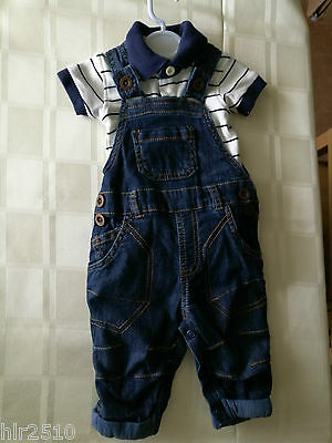 Gorgeous George Denim Dungarees and stripy T Shirt 0-3 months