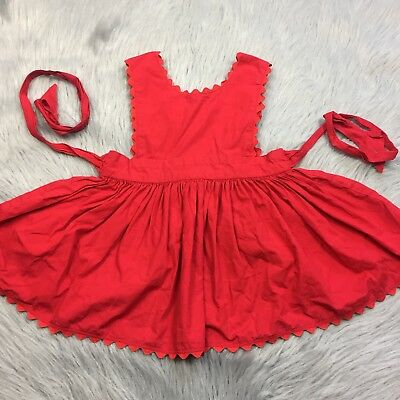 Flawed Vintage Toddler Girls Red Ric Rac Trim Swing Pinafore Dress Project Vday