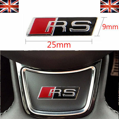 RS 3D Small Steering Wheel Logo Badge Dash Emblem Styling For AUDI RS3 RS4 A3 A4