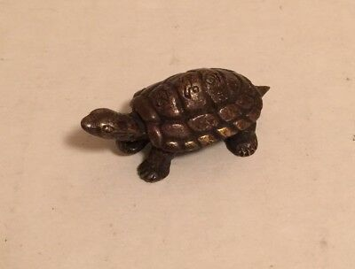Chinese Antique Rare Bronze or Brass Turtle Statue with Character Mark Signed