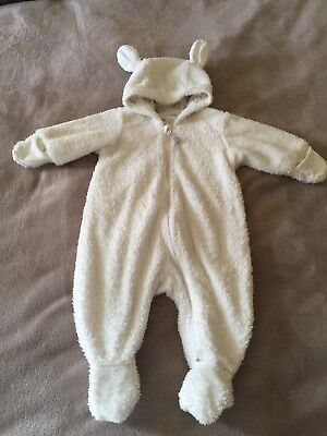H&M Baby Grow, Size 2-4 Months, White Bear,