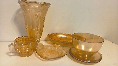 Lot of 8 Vintage Carnival Glass Marigold Jeannette, Imperial, mixed lot must see