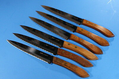 6 Vintage Ekco Stainless Steak Knives Wood Handled Kitchen Cutlery