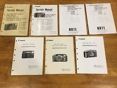 Mixed Lot of 8 Canon Point & Shoot Service Manual & Troubleshooting Guides READ