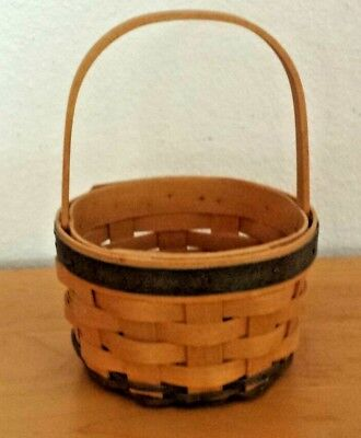 Longaberger Small Basket 2002 stationary handle brown with green reeds GUC