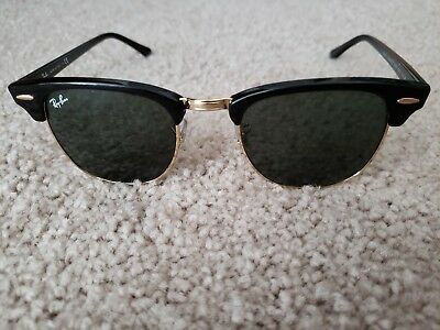 Ray-Ban Clubmaster Classic Sunglasses RB3816 901 58 Black Gold Polarized 103d30d3bc77