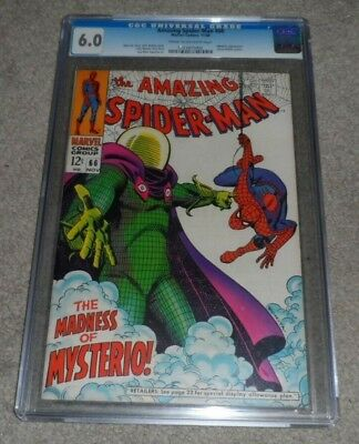 AMAZING SPIDER-MAN # 66 CGC certified 6.0  Beautiful Silver Age  MYSTERIO Cover