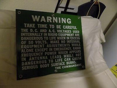 USCG United States Coast Guard Porcelain Enamel  Warning Sign NICE 11X 12