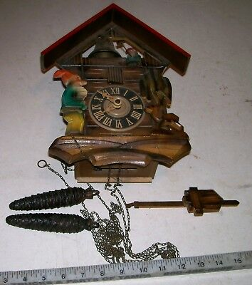 Unique German HECO Cuckoo CooCoo Black Forest Regula Clock Gnone Troll w/Hammer