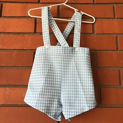 VINTAGE Boys Blue White Gingham Shortall Overall Jumper Shorts Size 18 Months?
