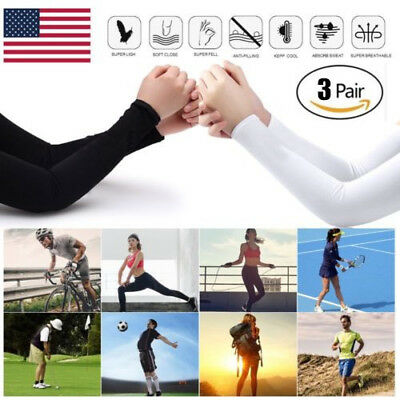 3Pairs(6pcs) Cooling Arm Sleeves Cover UV Sun Protection Outdoor Sports Unisex