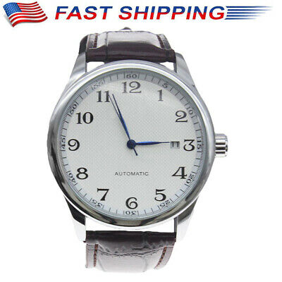 Classic Men's Automatic Mechanical Self-Winding Date Brown Leather Wrist Watch