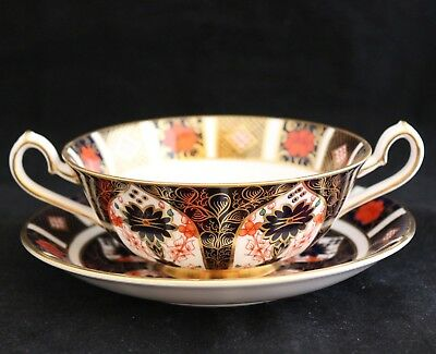 ROYAL CROWN DERBY 1128 OLD IMARI CREAM SOUP CUP / BOWL & SAUCER gold foot