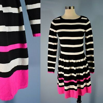 Nwt Eliza J Long Sleeve Geo Stripe Fit Flare Sweater Dress L