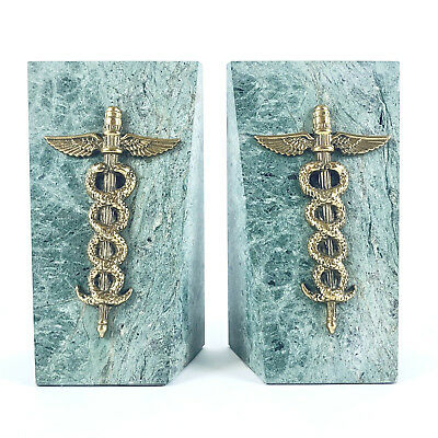 Bookends Green SOLID MARBLE & BRASS Caduceus Medical Profession Hermes Symbol