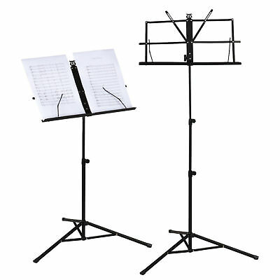Metal Adjustable Sheet Music Stand Holder Folding With Carry Bag School Home Use