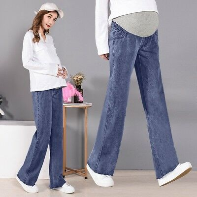 Pregnant Woman Ripped Jeans Maternity Pants Trousers Nursing Prop Belly Legging