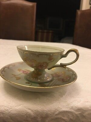 DEMITASSE CUP/SAUCER BY Ucagco China, made in occupied Japan, hand painted