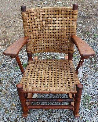 Superb Antique Old Hickory Arm Rocking Chair  inv373  (STICKLEY ERA)