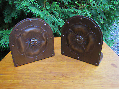 """Pair of Large """"Roycroft"""" Bookends with Poppy Flower Design  inv4416 stickley era"""