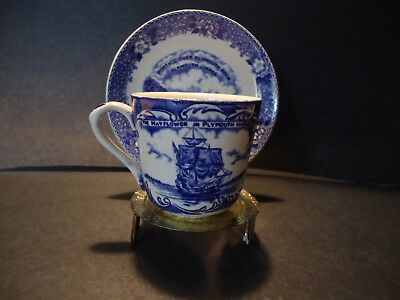Vintage Blue and White china Pilgrim Mayflower cup and saucer