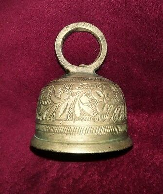 Small Rare Antique Etched Solid Brass Sarna Bell 19Th Century Made In India