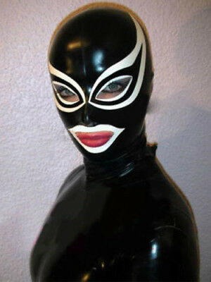 Sexy Black Latex Unisex Hood Mask with White Trim Cosplay Party Wear Rubber Mask