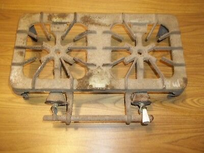 Antique Vtg Griswold Cast Iron Two Burner Camp Stove Gas Grill #202